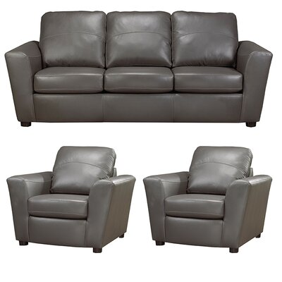 Delta Italian Leather Sofa and 2 Chair Set Upholstery: Grey