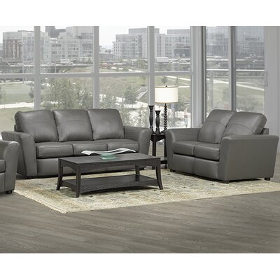 Delta Italian Leather Sofa and Loveseat Set Upholstery: Grey