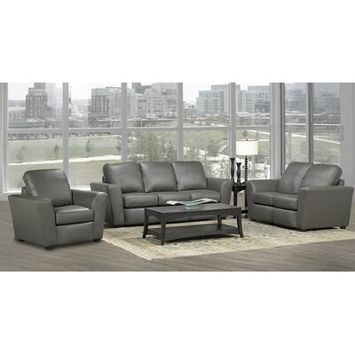 Delta Leather 3 Piece Living Room Set Upholstery: Grey