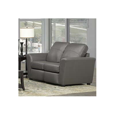 Delta Italian Standard Leather Loveseat Upholstery: Grey