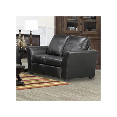 Delta Italian Standard Leather Loveseat Upholstery: Black