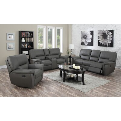 Harris Recliner Sofa, Loveseat and Recliner Chair Set Upholstery: Gray