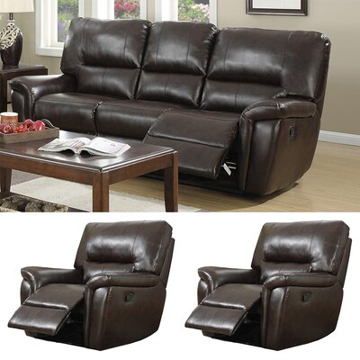 Harris Recliner Sofa and Two Recliner Chair Set Upholstery: Red Brown