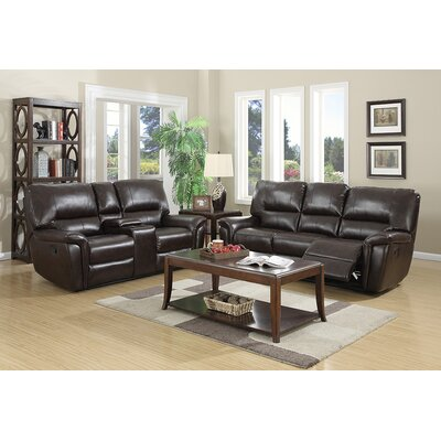 Harris 2 Piece Living Room Set Upholstery: Red Brown