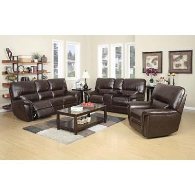 Harris 3 Piece Living Room Set Upholstery: Red Brown