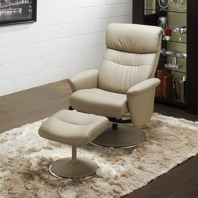 Perry Recliner and Ottoman Upholstery: Gray