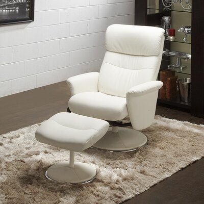 Perry Recliner and Ottoman Upholstery: White