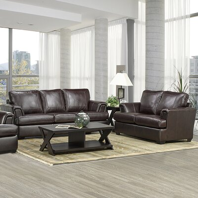 Coja Royal-SL Royal Cranberry Italian Leather Sofa and Loveseat Set