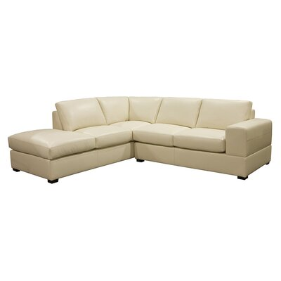 Brady Leather Sectional Color: AMB 1181 Black, Leg Finish: Espresso, Orientation: Left Hand Facing