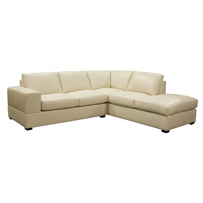 Brady Leather Sectional Color: EXP 2123 Black, Leg Finish: Espresso, Orientation: Right Hand Facing