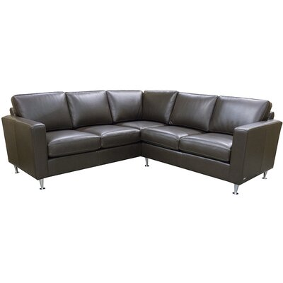 Erika Leather Sectional Upholstery: EXP 2124 Dark Brown
