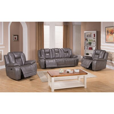 Fae Power 3 Piece Leather Living Room Set