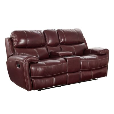 Simeone Leather Reclining Loveseat with Console