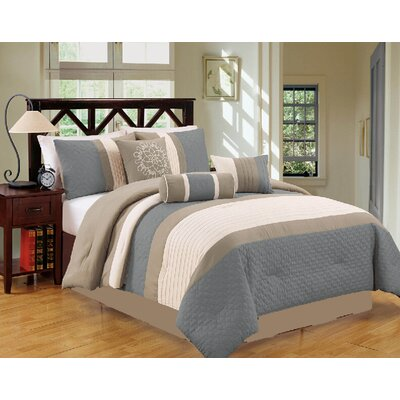 Sampson 7 Piece Comforter Set Size: Queen, Color: Blue/Gray