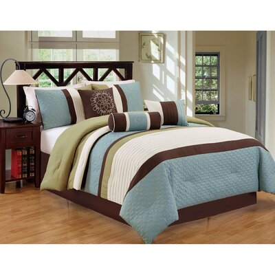 Sampson 7 Piece Comforter Set Size: King, Color: Blue/Green