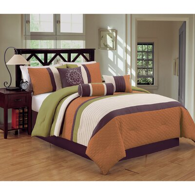 Sampson 7 Piece Comforter Set Size: Queen, Color: Orange/Green