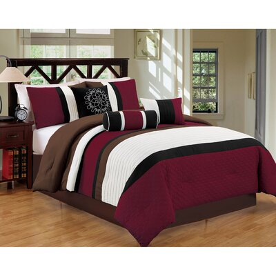 Sampson 7 Piece Comforter Set Size: King, Color: Red/Brown