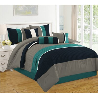 Barros 7 Piece Comforter Set Size: Queen, Color: Blue/Green/Gray