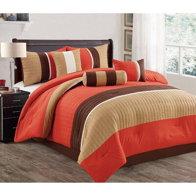 Barros 7 Piece Comforter Set Size: Queen, Color: Orange/Taupe