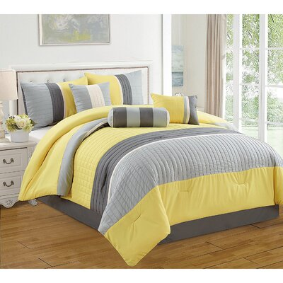 Barros 7 Piece Comforter Set Size: King, Color: Yellow/Gray