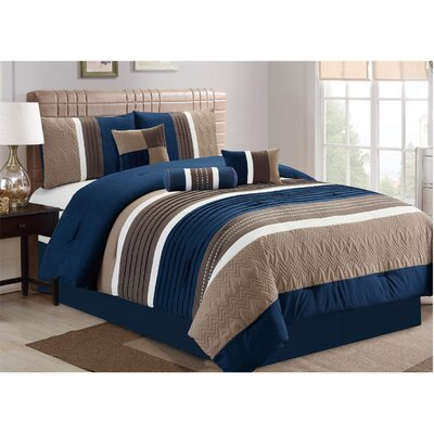 Petersburgh 7 Piece Comforter Set Size: California King, Color: Navy/Khaki/Brown