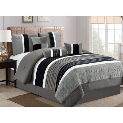 Petersburgh 7 Piece Comforter Set Size: King, Color: Gray/Black