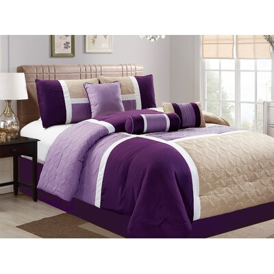 Hunsaker 7 Piece Comforter Set Size: California King, Color: Beige/Purple