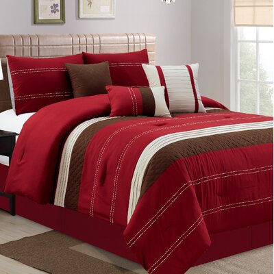 Hunnicutt 7 Piece Comforter Set Size: California King, Color: Red/Brown