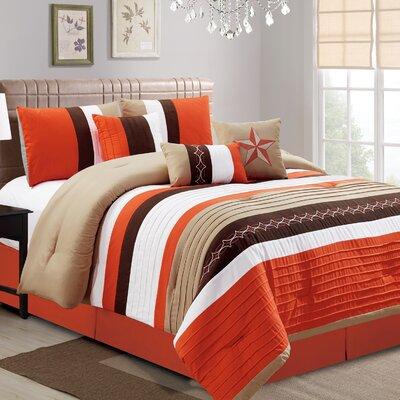 Hunsicker 7 Piece Comforter Set Size: California King, Color: Orange/Brown