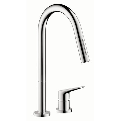 Axor Citterio M Single Handle Deck Mounted Kitchen Faucet Finish: Steel Optik
