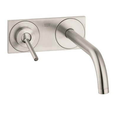Axor Uno Single Handle Wall Mounted Faucet with Base Plate Finish: Brushed Nickel