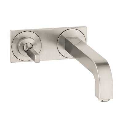 Axor Citterio Single Handle Wall Mounted Faucet with Base Plate Finish: Brushed Nickel