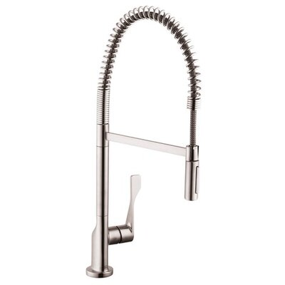 Axor Citterio One Handle Deck Mounted Bar Faucet with Spray Finish: Stainless