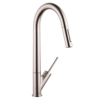 Axor Starck Pull Down Single Handle Kitchen Faucet Finish: Steel Optik