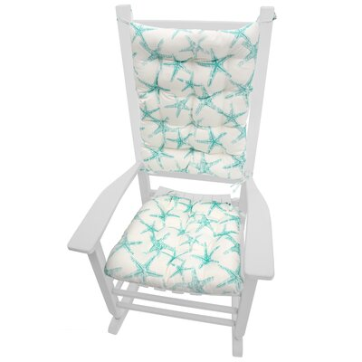 Coastal Outdoor Rocking Chair Cushion Fabric: Aqua / White