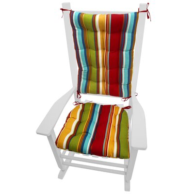 Coastal Outdoor Rocking Chair Cushion Color: Red / Gold / Green