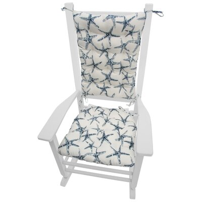 Coastal Outdoor Rocking Chair Cushion Fabric: Blue / White
