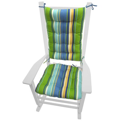 Coastal Outdoor Rocking Chair Cushion Color: Blue / Green / Yellow