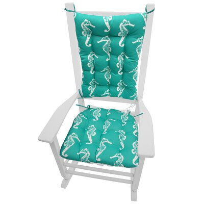 Coastal Outdoor Rocking Chair Cushion Color: Aqua / White