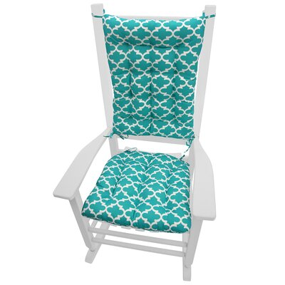 Garden Outdoor Rocking Chair Cushion Fabric: Aqua