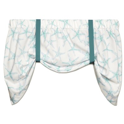Coastal Sea Shore Starfish 52 Tie-Up Curtain Valance Color: Aqua / White