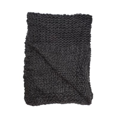 Chunky Wool Knit Throw Color: Charcoal