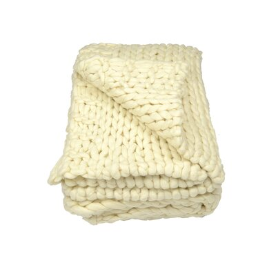 Chunky Wool Knit Throw Color: Creme