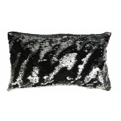 Mermaid Sequins Lumbar Pillow Color: Black/Silver