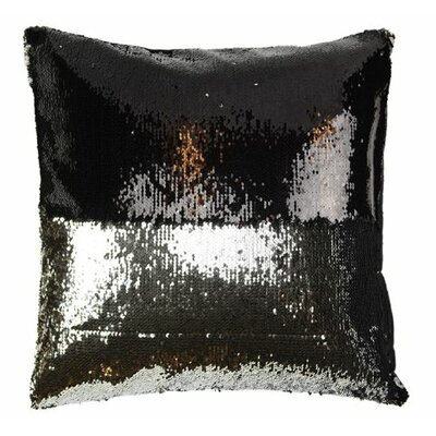 Mermaid Sequins Throw Pillow Color: Black/Taupe