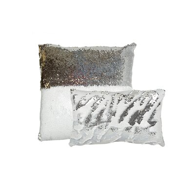 Mermaid Sequins Lumbar Pillow Color: White/Silver