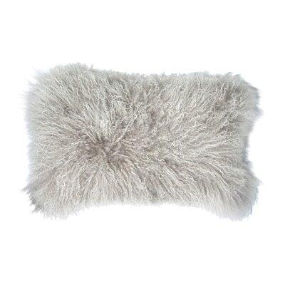 Double Dipped Mongolian Lumbar Pillow Color: Silver