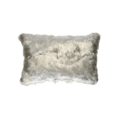 Luxe Fur Suri  Alpaca Lumbar Pillow Color: Silver
