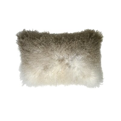 Mongolian Luxe Fur Lumbar Pillow Color: Ombre/Cream