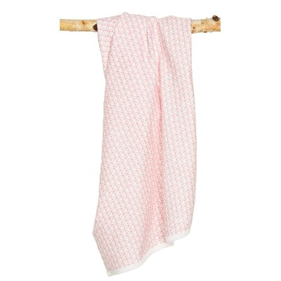 Pineapple Signature Cotton Blanket Color: White / Coral